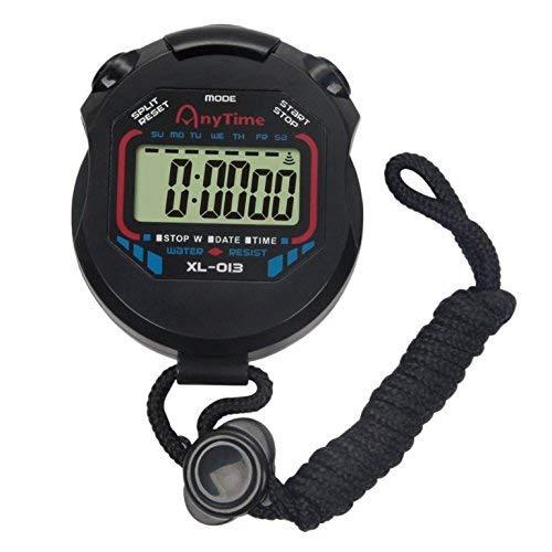 OFKPO Reloj Digital de Deportes, Cronómetro Cronógrafo Digital Contador Cronómetro LCD con Cuerda, Negro