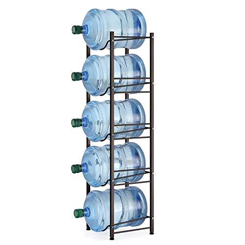 5-Tier Water Cooler Jug Rack - 5 Gallon Water Bottle Storage Rack Jug Holder - Heavy Duty Bottle Buddy with Floor Protection for Kitchen Office Home - Bronze