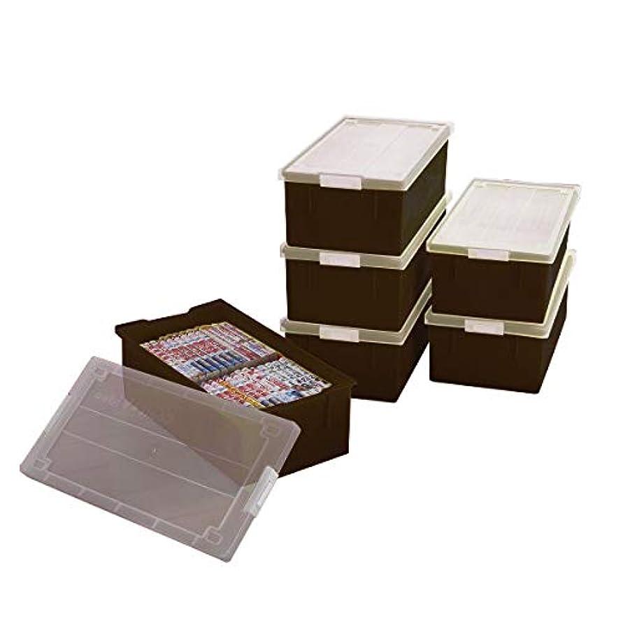 構造的達成砂のコミック&ビデオテープ 収納ボックス 同色 6個組 日本製 MJ-COMIC (ブラウン)