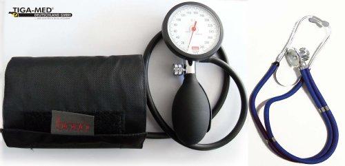 Blutdruckmessgerät Oberarm Boso K 1 shock protected + Rappaport Doppelkopf Stethoskop Blau Stetoskop Doppelkopfstethoskop Tiga-Med