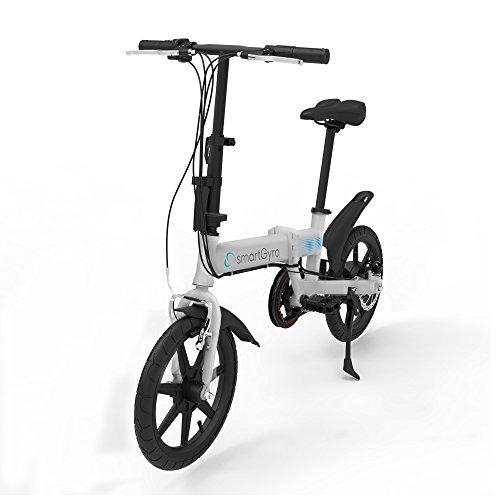 SmartGyro Ebike Silver - Bicicleta Eléctrica, Ruedas de 16', Asistente al Pedaleo, Plegable, Batería extraíble de litio de 4400 mAh, Freno V-Brake y Disco, Autonomía 30-50 Km, color Plata