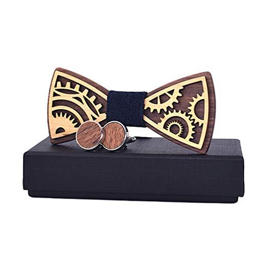 Haobing Conjunto de Pajarita y Pañuelo de Bolsillo para Hombre, para Boda y Fiesta, Handcrafted Madera Pajarita (12 * 5.5cm, Negro#2)