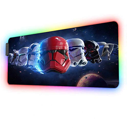 Large Gaming RGB Mouse Pad,Soft LED Mousepad with 12 Lighting Modes & Non-Slip Rubber Base,Textured Cloth Design,Long Glowing Laptop Desk Pad,Computer Keyboard and Mice Combo Pads Mouse Mat,31.5X11.8