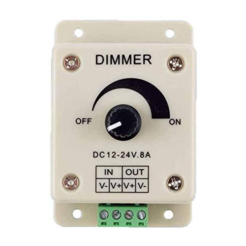 libelyef Regulador manual montado en la pared, interruptores LED reguladores con perilla 12-24V 8A interruptor ajustable brillo ajustable, controlador de luz de un solo color controlador