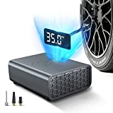 Portable Air Compressor for Car Tires,12V DC Mini Tire Inflator with LED Flashlight,Tire Pump with High Definition LCD Screen,for Car Bike Tires and Other Inflatables