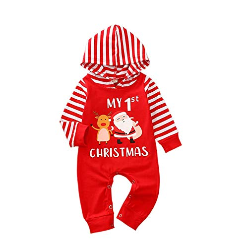Afocuz Neugeborenes My First Christmas Outfit Baby Junge Mädchen Xmas Langarm Strampler Hoodie Overall Weihnachtskleidung Gr. 0-3 Monate, rot