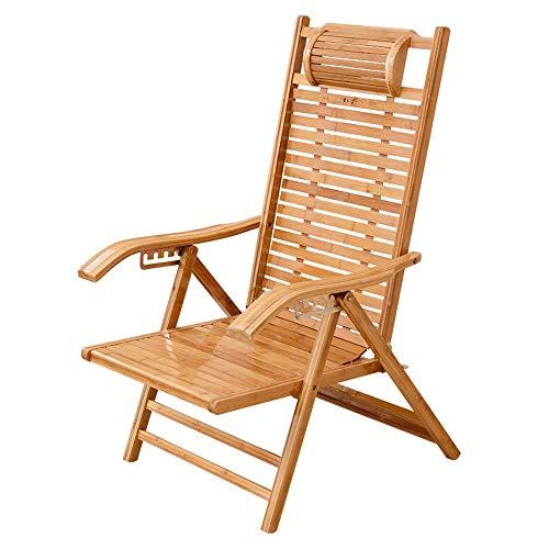 Folding chair Klappstuhl aus Bambuslehne, Mittagspause, Nickerchenstuhl, Cooler Stuhl, Alter Holzstuhl, Bambusstuhl + Kissen