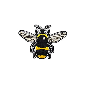 FabStix Buzzy The Bumble Bee Iron on Patch or Sticker Applique for Kids Womens Mens Clothing Jeans Jacket Caps Bags Lapel Medical Grade and Latex Free