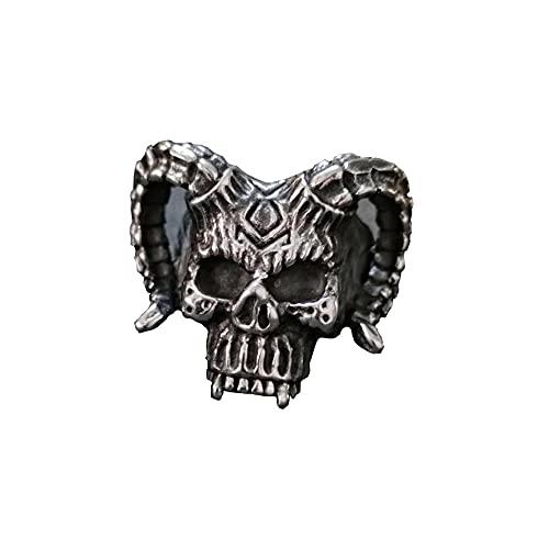 VUJK Ancient Rune Devil Anillo acero inoxidable Gótico Horned Hell Demon Skull Anillos Hombres Biker Anillos joyería 11