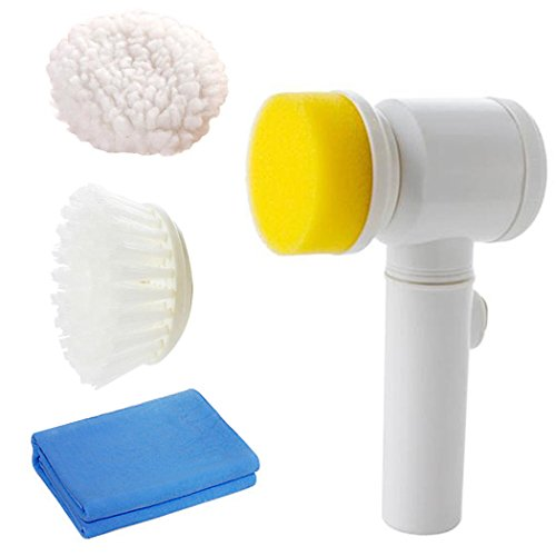 Electric Cleaning Brush, 5 in 1 Magic Power Scrubber for Kitchen Bathroom Tub Shower Tile Carpet Bidet Sofas, Cordless Battery Powered Scrubber with PVA Towel & 3 Brush Heads