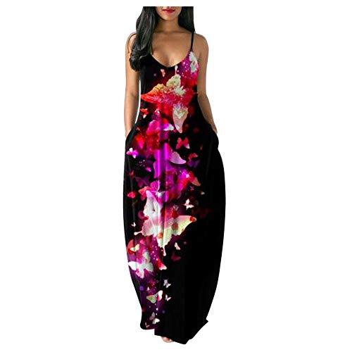 heavKin Women's Sleeveless V Neck Pocket Casual Plus Size Loose Plain Long Maxi Dress 2021