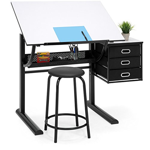 Best Choice Products Drawing Drafting Craft Art Table Folding Adjustable Desk w/Stool - Black/White