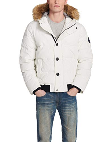 Tommy Hilfiger Men's Arctic Cloth Full Length Quilted Snorkel Jacket (Standard and Big & Tall), White, 3X-Large Tall