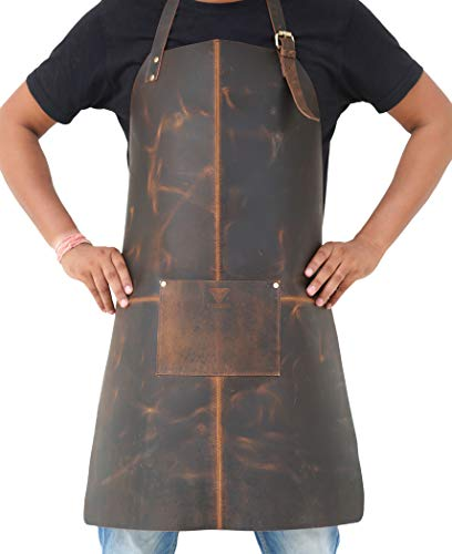 Tuzech Durable Leather Apron Utility/Tool Pockets/Adjustable/Chef/Butcher/Metalworker/CarpenterBlacksmith Heavy Duty Handmade Adjustable Tool Apron - 30.5x 23.5 Inches (Single Pocket)