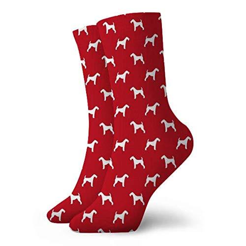 airedale terrier perro raza mascota edredón una colcha silueta coordina dog fabric_2199 Calcetines para hombres Calcetines ligeros Calcetines cortos deportivos clásicos de ocio 30cm / 11.8 pulgadas