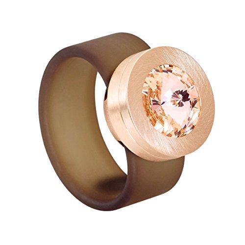Heideman Ring Damen Colori Rose braun aus Edelstahl Rosegold farbend und Rose Damenring für Frauen mit Swarovski Stein Kristall