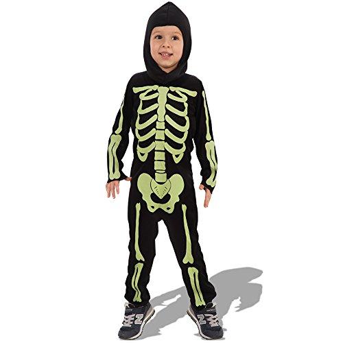 Carnival Toys 68723 - skelet met fluorescerende druk met capuchon, spel, 6-7 jaar