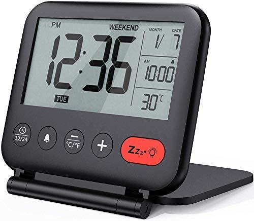 Reloj despertador digital de viaje mini portátil LCD con calendario de luz de fondo, temperatura del calendario, pequeño reloj de escritorio plegable con pilas
