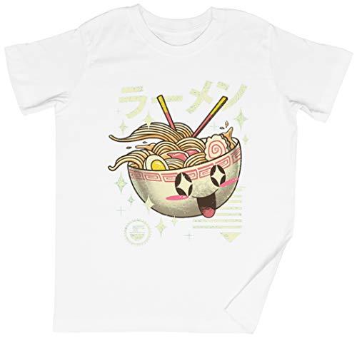 Kawaii Ramen Blanca Niños Chicos Chicas Camiseta Unisexo Tamaño M White Kid