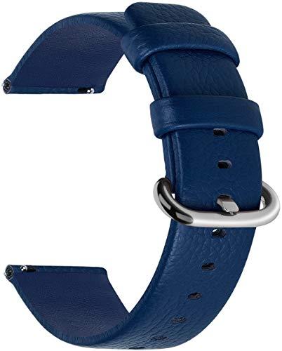Fullmosa 12 Colori per Cinturini di Ricambio, Uli Pelle Cinturino/Cinturini/Braccialetto/Band/Strap di Ricambio/Sostituzione per Watch/Orologio 18mm 20mm 22mm 24mm, Blu Scuro 18mm