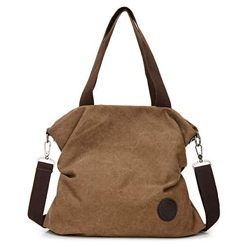 Frauen Leinwand Handtasche Mit Großer Kapazität Messenger Bag Handtasche Messenger Bag Strand Umhängetasche Damen Casual Umhängetasche Schokolade 16Cm * 32Cm * 38Cm