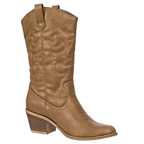 Charles Albert Women's Embroidered Modern Western Cowboy Boot in Tan Size: 8