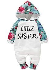 puseky nyfödd hoodie lekdräktsdräkt för den lilla syster på bebisen långärmad med blommor