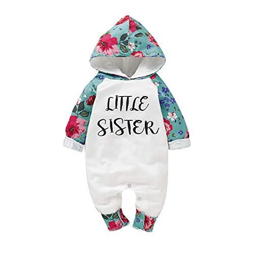 greatmtx 0-24 Maanden Baby Romper Peuter Meisjes Lange Mouw Letter Bloemenkap Bodysuit Jumpsuit
