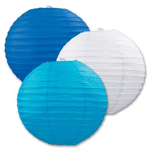Beistle 54570-B papieren lantaarns 3-pack Eén maat blauw-wit