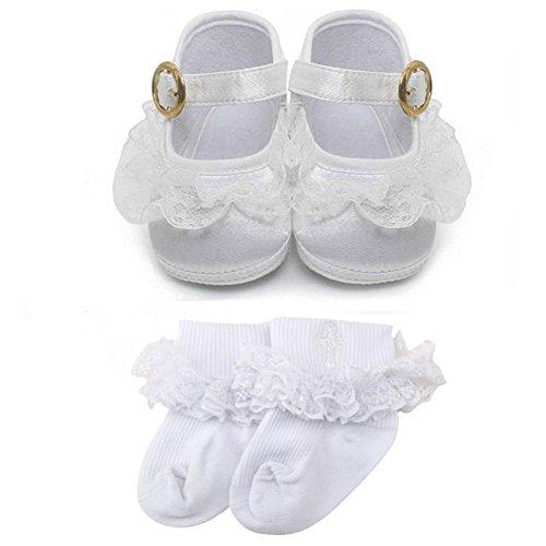 OOSAKU Zapatos Blancos de Las niñas Zapatos de Vestir de la Princesa del satén la Hebilla