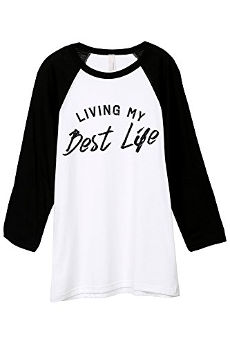 Thread Tank Living My Best Life Unisex 3/4 Sleeves Baseball Raglan T-Shirt Tee White Black Large