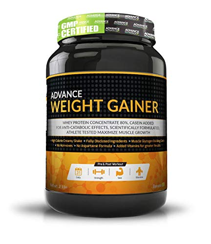 Advance Nutratech Weight Gainer - 2 Lb (Rich Banana) | 0. 9 Kg | Complex Carb| Low Sugar| Lean Muscle Rebuild| Recovery| High Calorie Zero Gluten With No Creatine| Dairy Free| Men & Women