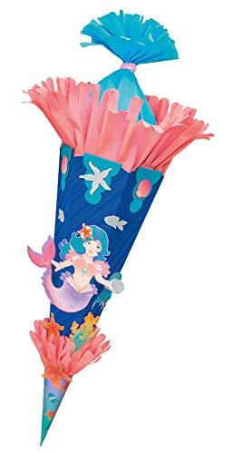 folia 92207/22222 Schultüten Bastelset Meerjungfrau, inklusive Schultütenrohling aus 3D Wellpappe ca. 68 cm, Motivbögen und Bastelzubehör, blau