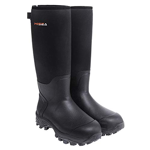 HISEA Apollo Basic Hunting Boots for Men Waterproof Insulated Rubber Boots Rain Boots Neoprene Mens Boots Black