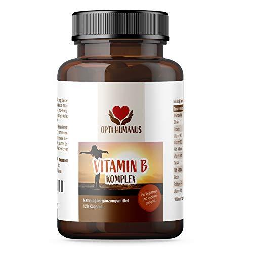 OPTI HUMANUS Vitamin B Komplex Hochdosiert, Bioaktive B Vitamine mit Co Faktoren, Höchst Bioverfügbar. Vitamin B1 B2 B3 B5 B6 B7 ( Biotin )B12,120 Kapseln, 4 Monats-Kur, Ohne künstliche Zusatzstoffe