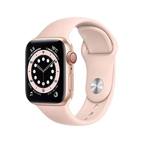最新 Apple Watch Series 6(GPS + Cellularモデル)- 40mmゴールドアルミニウムケースとピンクサンドスポーツバンド