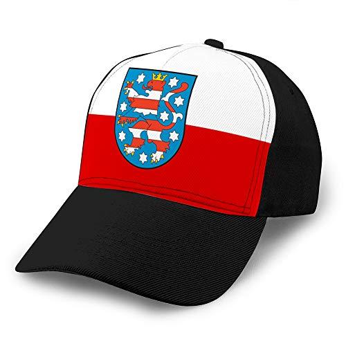 LJKHas232 Classic Cotton Dad Hat Adjustable Plain Cap Custom Denim Baseball Cap for Adult Flag of thuringia in Germany Cotton Baseball Cap