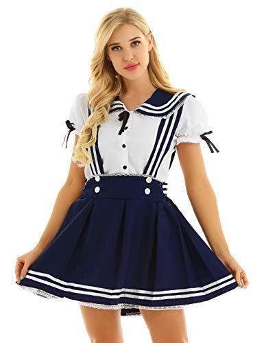 Agoky Damen Jugendlich Schulmädchen Uniform Bluse Shirts mit A Linie Träger Minirock Hosenträger Rock Matrose Cosplay Kostüm Outfits Marineblau&Weiß X-Large