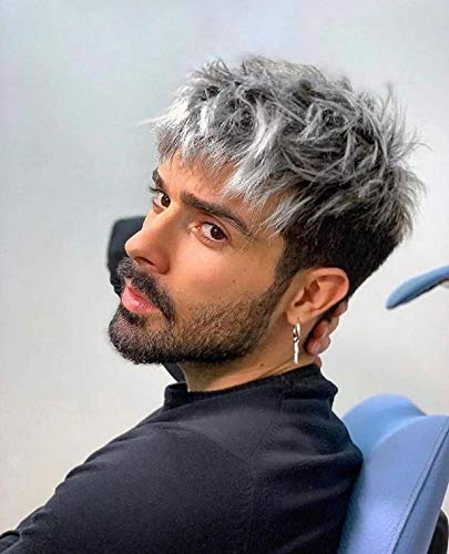 Mens Wig Short Pixie Cut Layered Straight Wig for Male Silver Gray Wigs for Man Natural and Fashion Wig