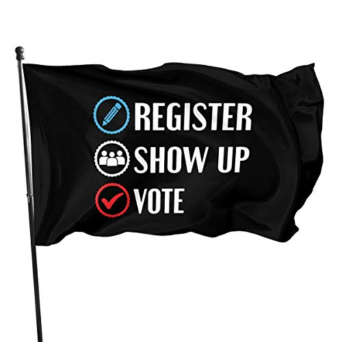 AOOEDM 3x5 Foot Outdoor Polyester Flag, Election 2020 Register Show up Vote Vivid Color and UV Fade Resistant