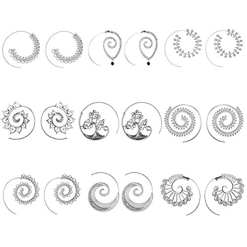 Juego de 9 pares de pendientes de aro en espiral de plata, estilo bohemio, clásico, para mujer