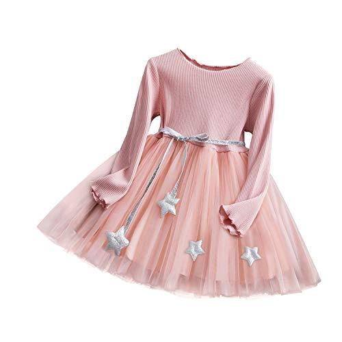 TTYAOVO Vestido de Tul de Fiesta de Princesa de Manga Larga para Niñas de 2-3 años(Talla100) 449 Rosa