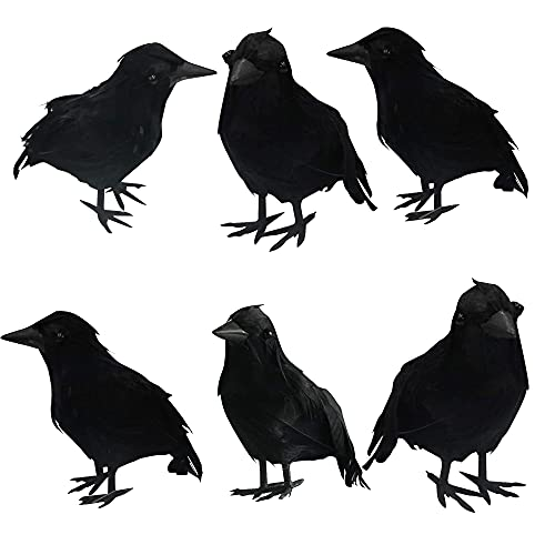 DAZZLE BRIGHT 6Pack Halloween Black Feathered Crows Decor, Holiday Decoration for Indoor Outdoor Home Yard Garden Party…