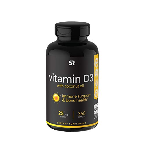 Vitamin D3 (1000iu/25mcg) Infused with Coconut Oil ~ Non-GMO & Gluten Free (360 Mini Liquid Softgels)