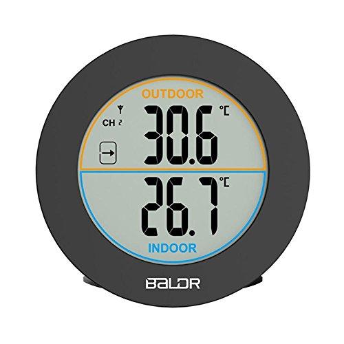 Forma redonda inalámbrico inalámbrica mesa termómetro interior exterior termómetro (LCD en de temperatura y reloj digital termómetro casa cocina escritorio Wall Temperature Meter Sensor