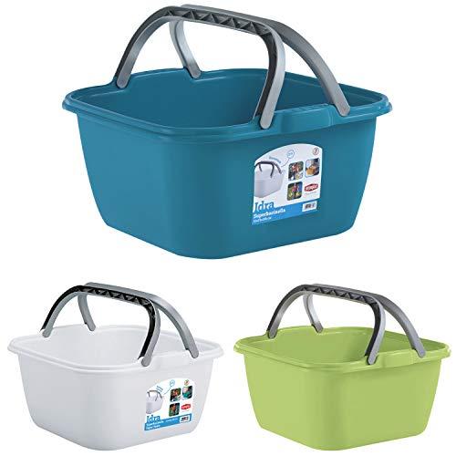 Schüssel mit Tragegriff Waschschüssel 13 Liter 35 x 35 cm Quadratisch Spülschüssel Wasserschüssel Tragekorb Kunststoff Spüle Korb Eimer Waschbecken Aufbewahrung Camping Abwaschschüssel Plastikschüssel