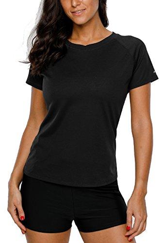 Attraco Damen Schwimmshirt Kurzarm UV Shirt Rash Guard Badeshirt UPF 50+, Z Schwarz, 42,XL