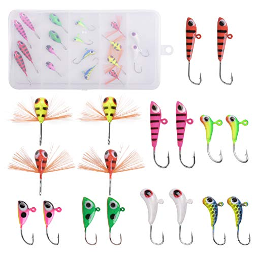 Ice Fishing Jigs Kit, 18pcs/36pcs Ice Fishing Jig Hook Lures Kit Ice Fishing Kit for Winter Ice Jigging Crappie Sunfish Perch Walleye Pike with Tackle Box