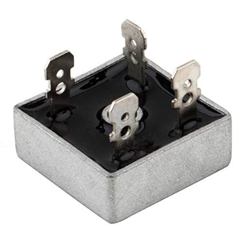 nbvmngjhjlkjlUK Rectificador de Puente de 1000 voltios Caja de Metal de 50 amperios 50A para disipación de Calor Puente de diodo de Fases Individuales de Forma Cuadrada de 1000 V (Plateado y Negro)