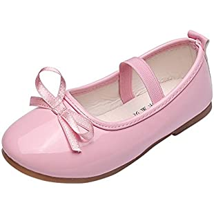 Zerototens Baby Girls Little Princess Shoes For 3-9 Years Old Kids, Toddler Girl Bowknot Decoration Anti-Slip Sole Boatshoes For Party Prom School Or Holiday (9, Pink)